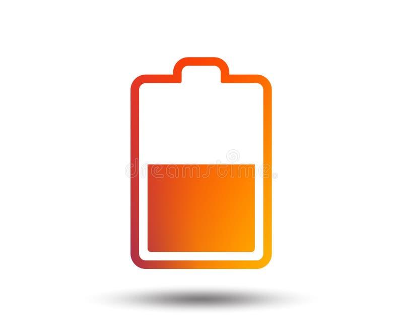 Ícone nivelado do sinal da bateria meio Baixa eletricidade ilustração royalty free