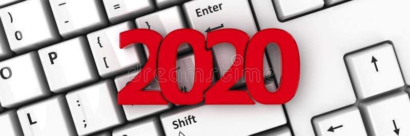ícone 2020 no teclado #2 ilustração stock