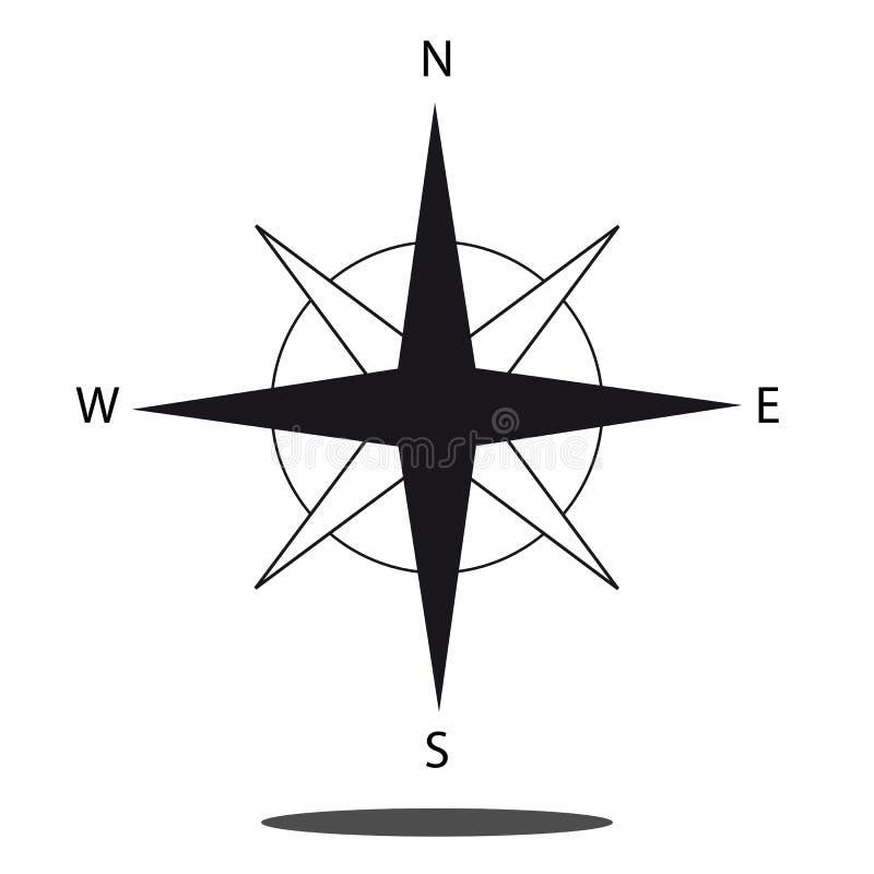 Ícone norte do compasso do sentido - gráfico de vetor isolado no fundo branco ilustração do vetor