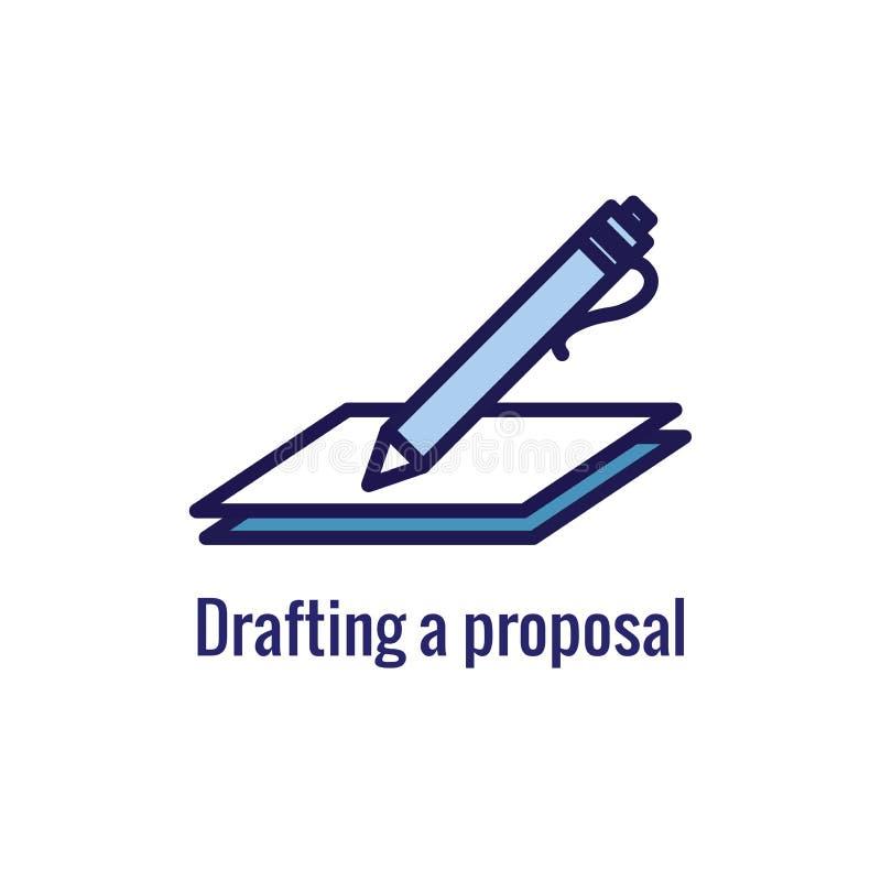 Ícone novo do processo de negócios, fase do esboço da proposta ilustração do vetor