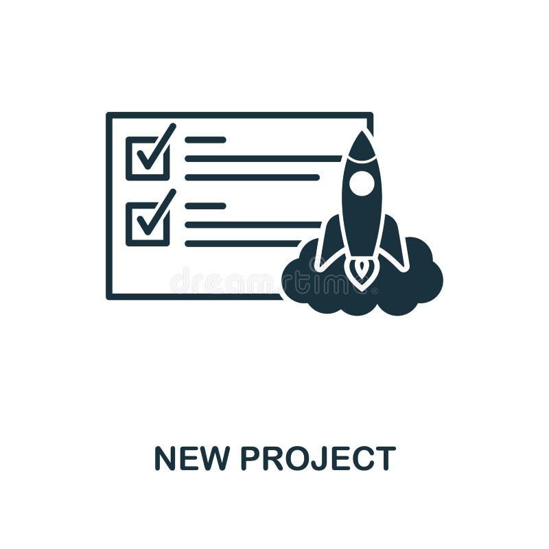 Ícone novo do projeto Projeto monocromático do estilo da coleção do ícone da gestão Ui Ícone novo do projeto do pictograma simple ilustração stock