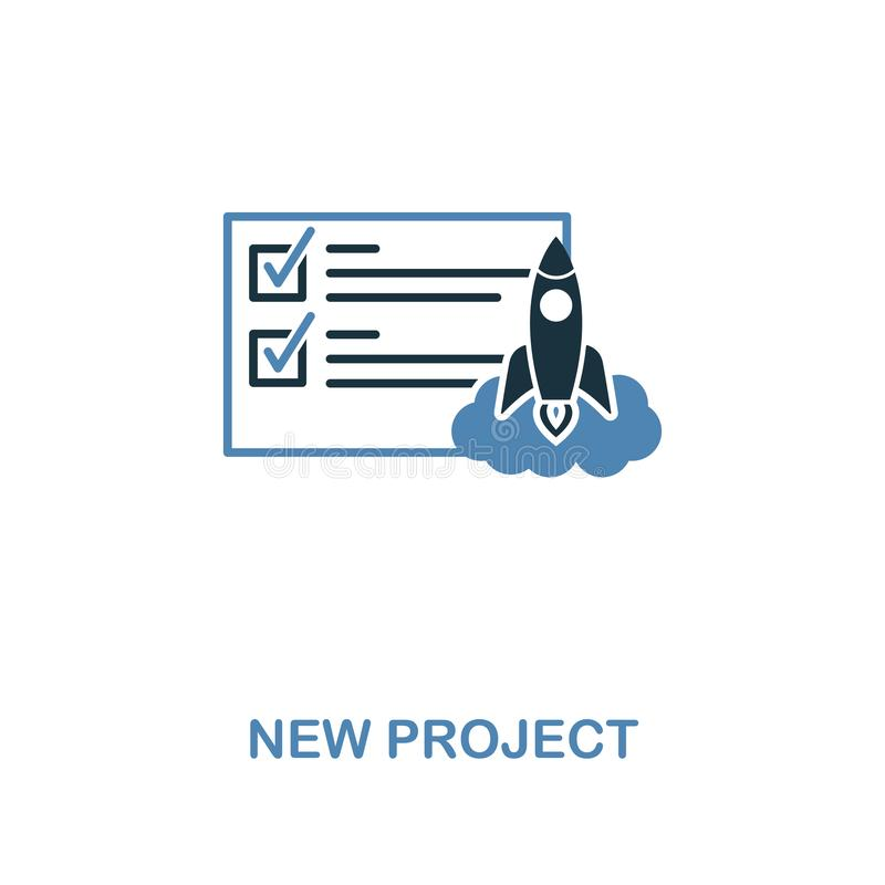 Ícone novo do projeto Projeto superior de duas cores da coleção dos ícones da gestão Ícone novo do projeto do pictograma simples  ilustração stock