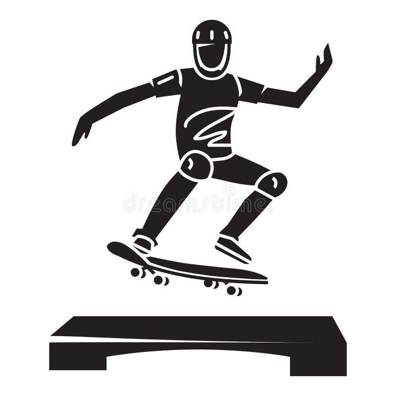 Ícone novo do truque do skater, estilo simples ilustração do vetor