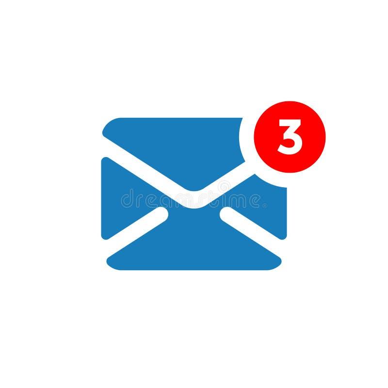 Ícone novo do vetor da notificação da mensagem ilustração royalty free