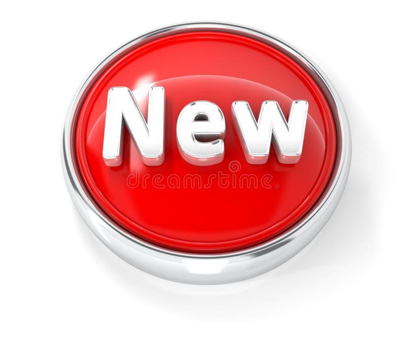 Ícone novo no botão redondo vermelho lustroso ilustração do vetor