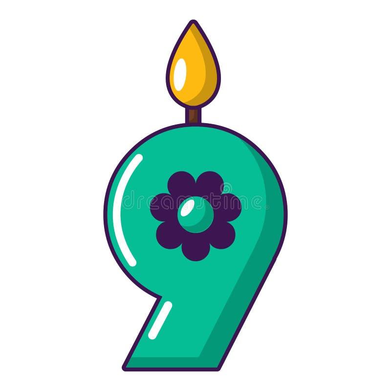 Ícone numeral da vela, estilo dos desenhos animados ilustração do vetor