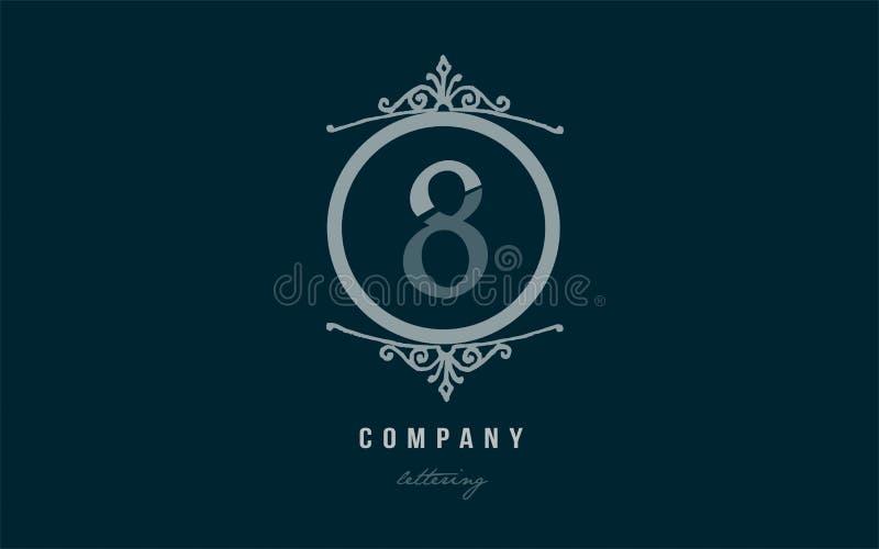 ícone numeral do logotipo do dígito do número decorativo azul do monograma 8 oito ilustração stock