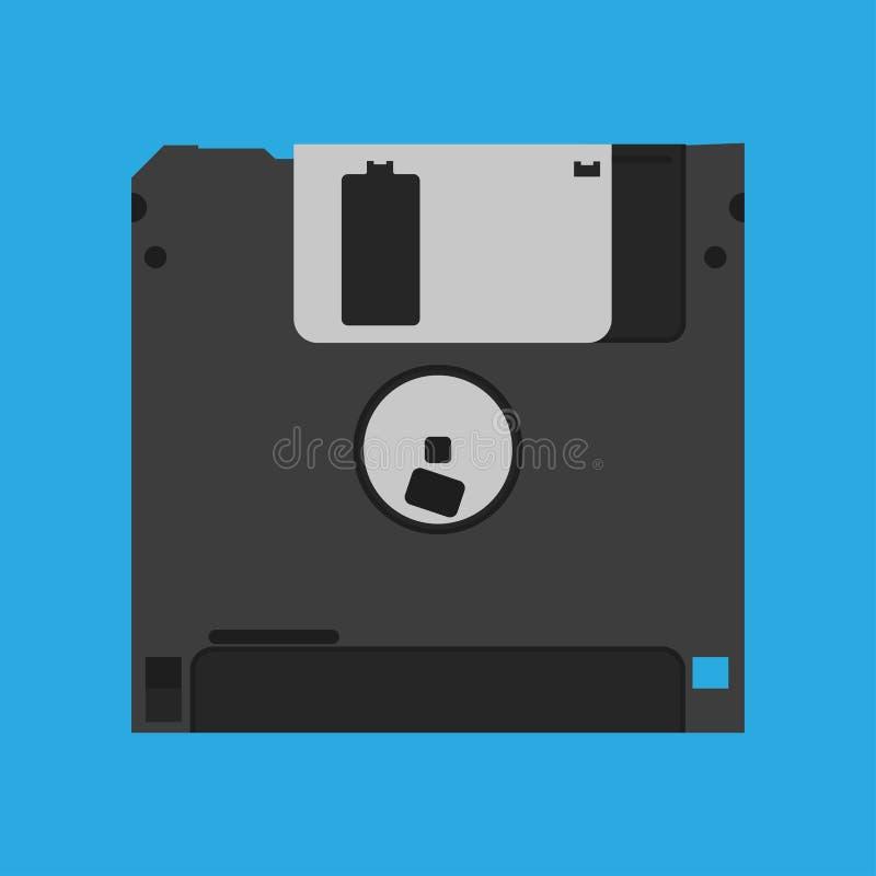 Ícone obsoleto preto do vetor do dispositivo alternativo do vintage de disco flexível da disquete Referência quadrada magnética d ilustração do vetor