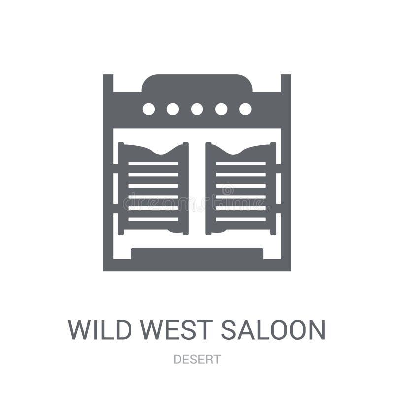 ícone ocidental selvagem do bar Conceito ocidental selvagem na moda do logotipo do bar em w ilustração royalty free