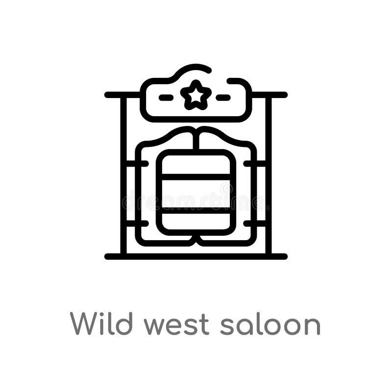 ícone ocidental selvagem do vetor do bar do esboço linha simples preta isolada ilustração do elemento do conceito do deserto Curs ilustração royalty free
