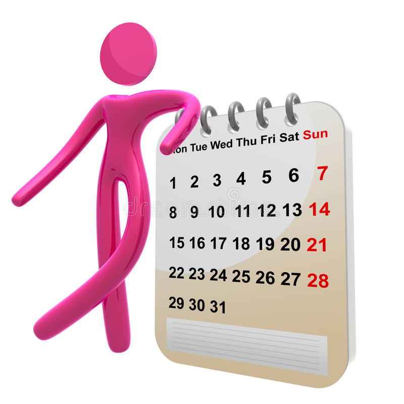Ícone ocupado do pictograma 3d com calendário da programação ilustração stock