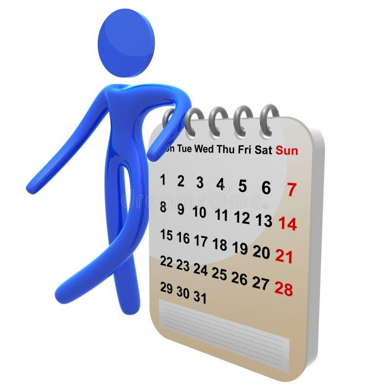 Ícone ocupado do pictograma 3d com calendário da programação ilustração do vetor