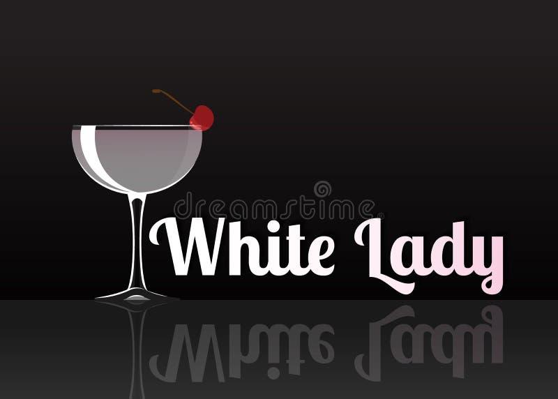 Ícone oficial do cocktail, a ilustração branca inesquecível dos desenhos animados da senhora ilustração royalty free