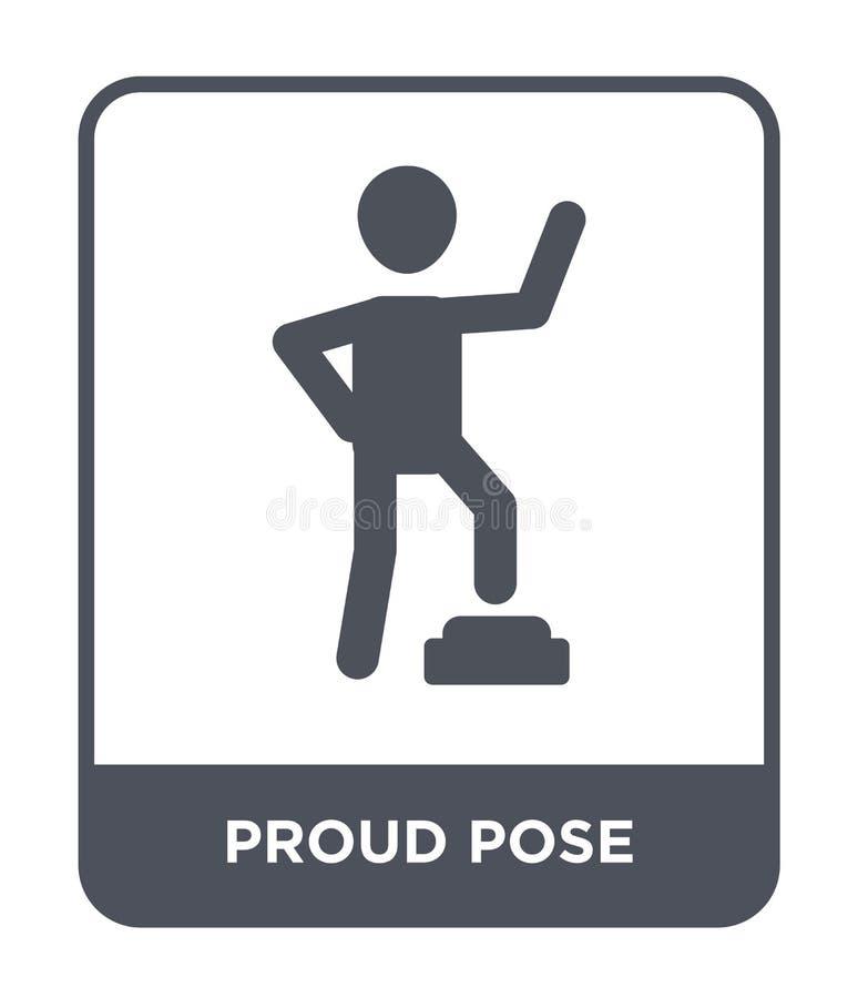 ícone orgulhoso da pose no estilo na moda do projeto ícone orgulhoso da pose isolado no fundo branco ícone orgulhoso do vetor da  ilustração stock