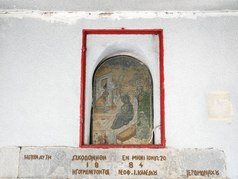 Ícone ortodoxo da cena da natividade do grego clássico imagens de stock