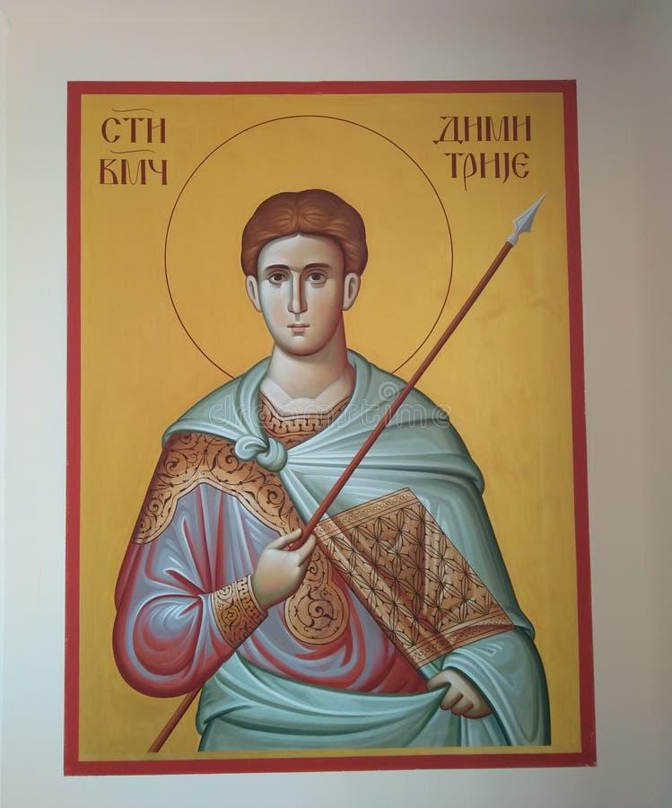 Ícone ortodoxo de Saint Dimitrije em Lazarevac, Sérvia foto de stock royalty free