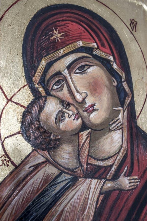 Ícone ortodoxo tradicional da mãe Mary foto de stock royalty free