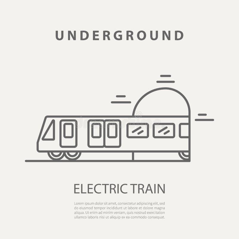 Ícone ou crachá do trem bonde do vetor Elementos no estilo do esboço para empacotar, apps do projeto gráfico, Web site, anunciand ilustração stock