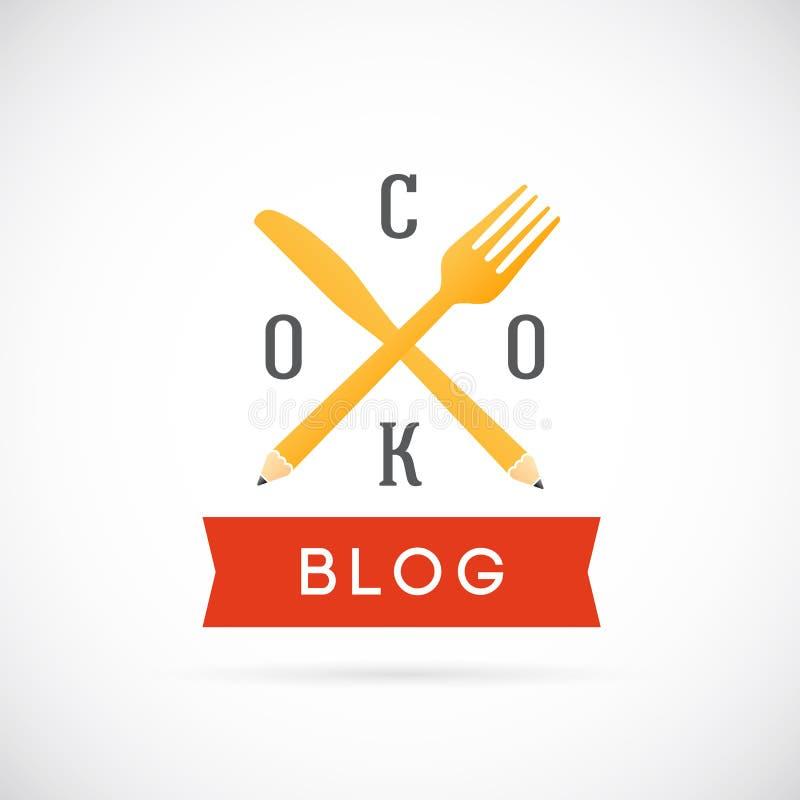 Ícone ou Logo Template de Blog Vetora Concept do cozinheiro ilustração stock