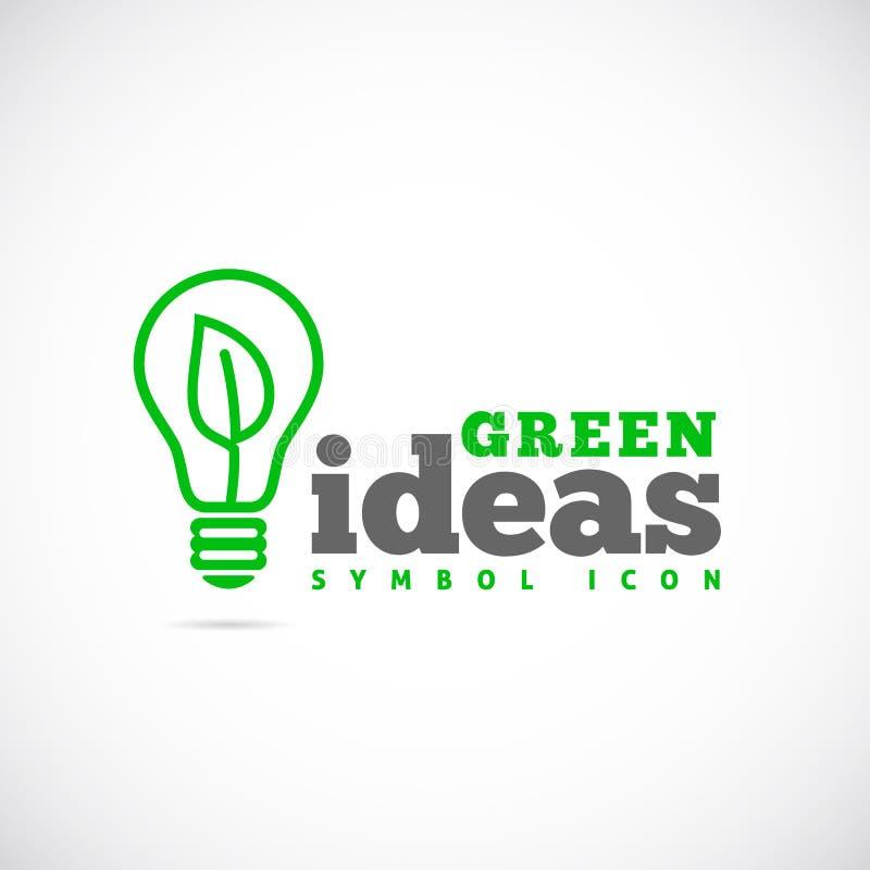 Ícone ou Logo Template verde do símbolo do conceito das ideias ilustração stock