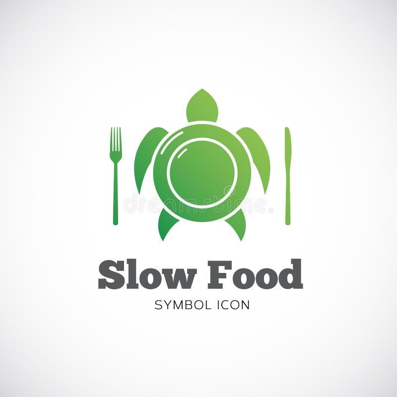 Ícone ou logotipo do símbolo do conceito do vetor de Slow Food ilustração royalty free
