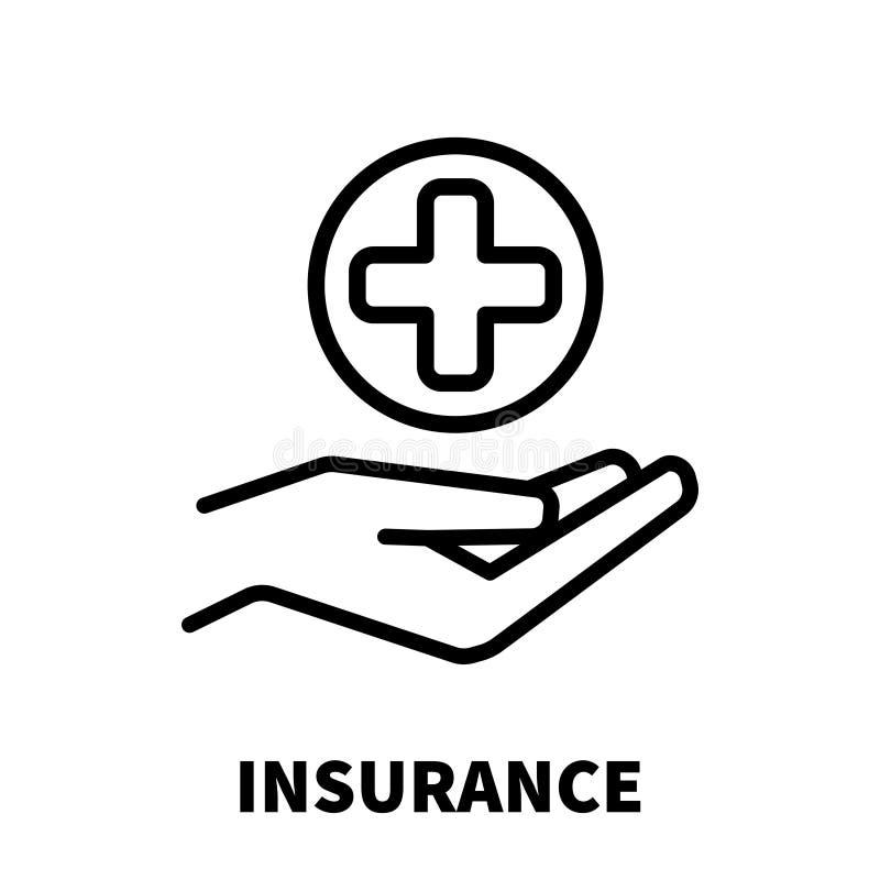Ícone ou logotipo do seguro na linha estilo moderna Preto de alta qualidade ilustração stock