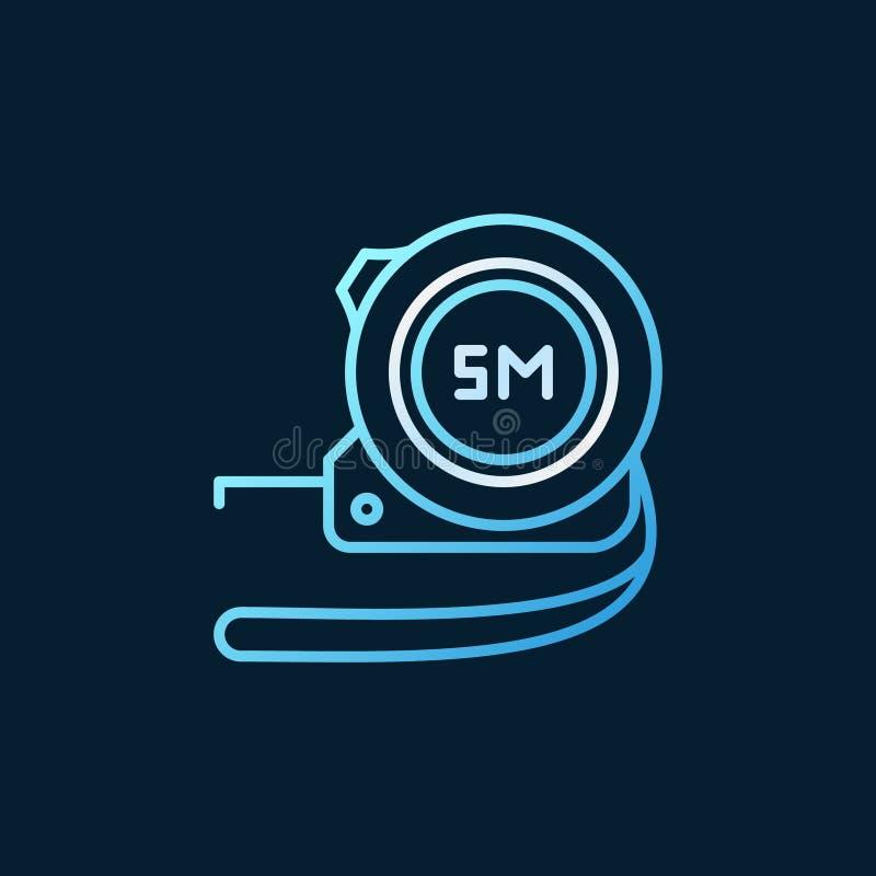 Ícone ou logotipo linear azul de medição da fita do vetor ilustração stock