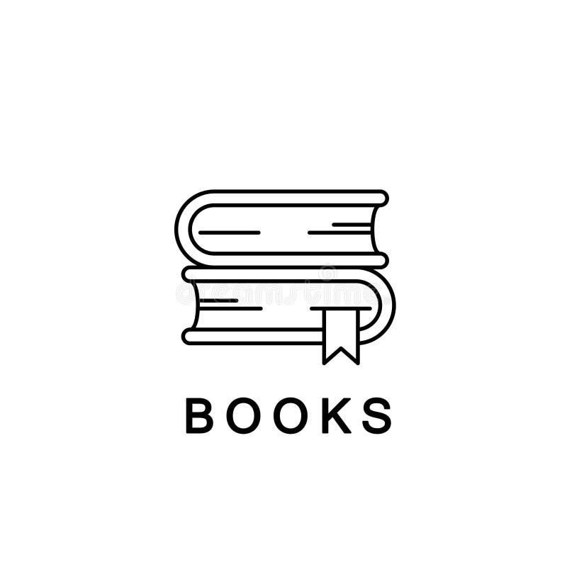 Ícone ou logotipo linear dos livros Linha ilustração do vetor Livros de texto da escola com marcador, símbolo da biblioteca ilustração do vetor
