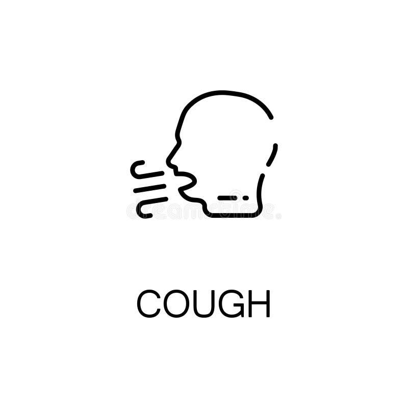 Ícone ou logotipo liso da tosse para o design web ilustração royalty free