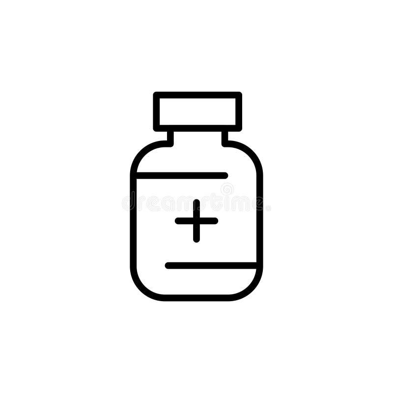 Ícone ou logotipo médico superior da droga na linha estilo ilustração stock