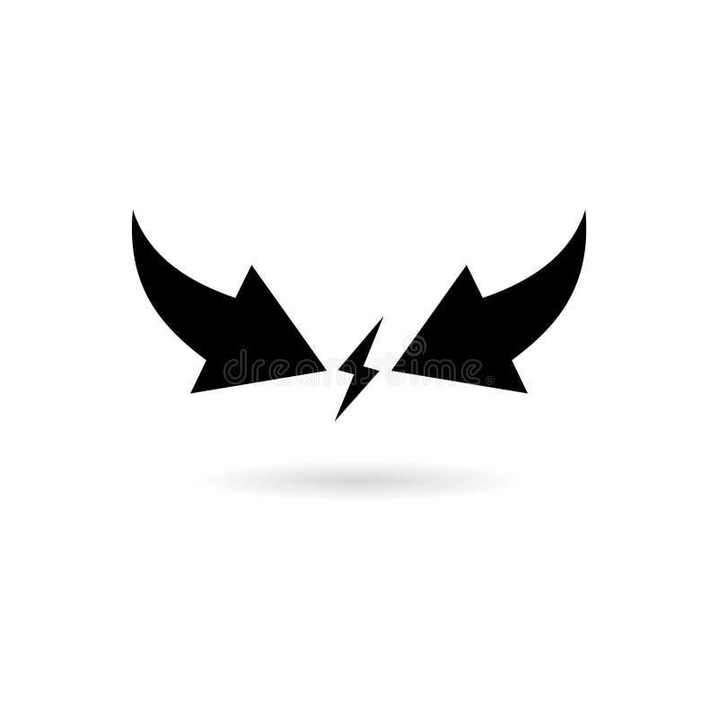 Ícone ou logotipo preto do conflito de interesses ilustração stock