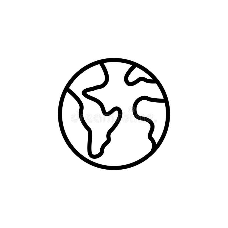 Ícone ou logotipo superior do globo na linha estilo ilustração stock