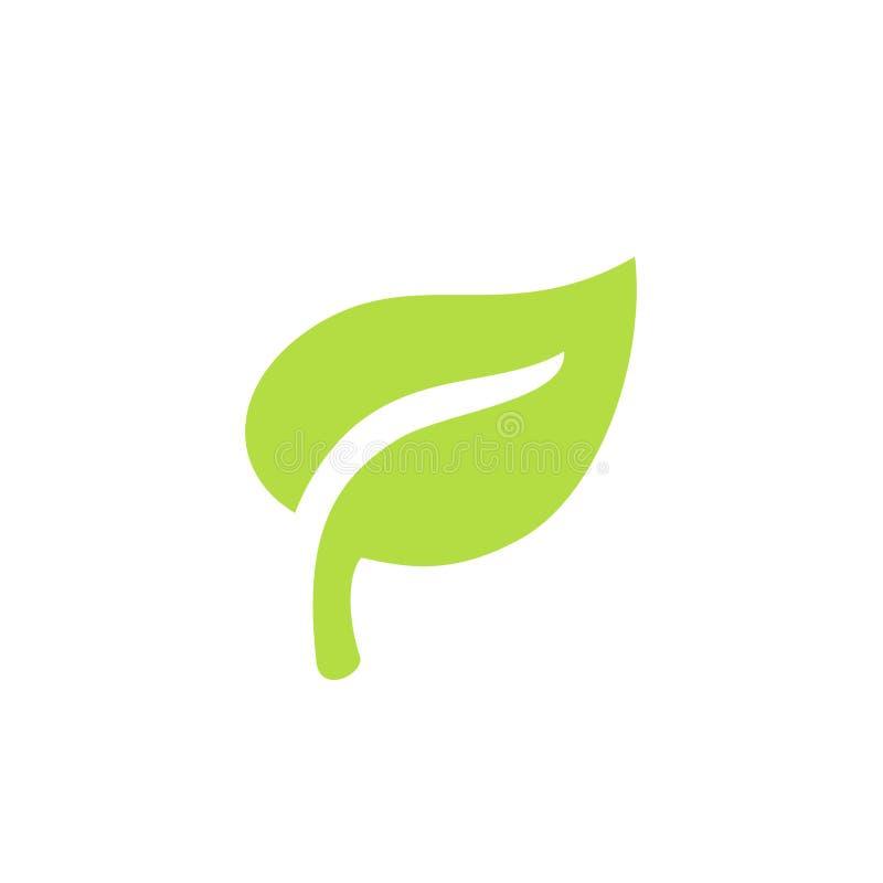 Ícone ou logotipo verde das plantas da folha Pureza e natureza da ecologia ilustração do vetor