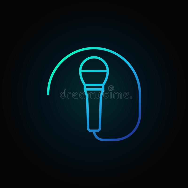 Ícone ou símbolo azul prendido do microfone na linha estilo fina ilustração royalty free