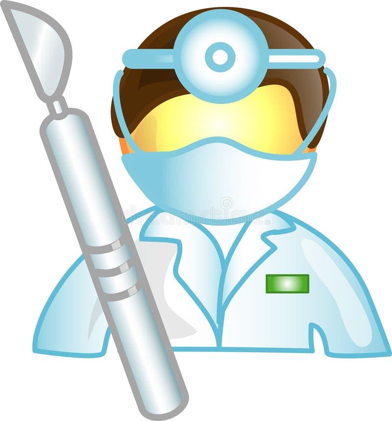Ícone ou símbolo da carreira do cirurgião ilustração stock