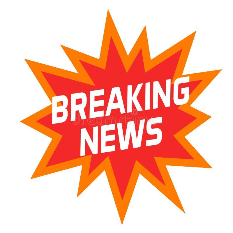 Ícone ou símbolo das notícias de última hora isolado no branco, no crachá criativo moderno do título ou na etiqueta ilustração stock