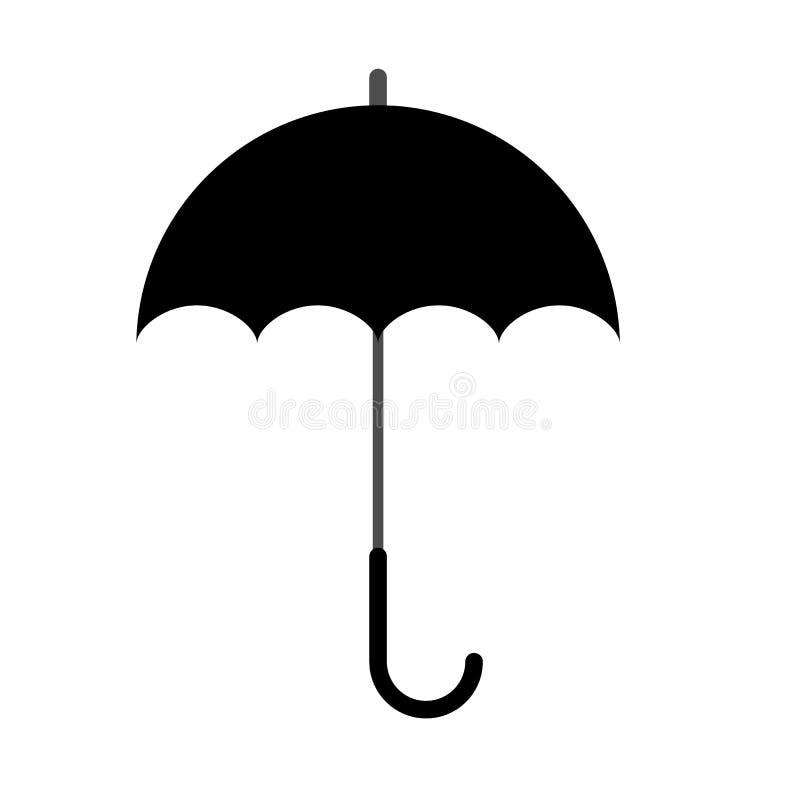 Ícone ou símbolo preto da silhueta do guarda-chuva Ilustra??o do vetor ilustração stock