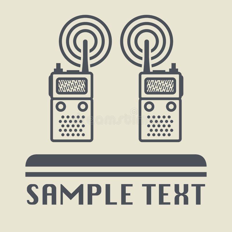 Ícone ou sinal de rádio móvel ilustração stock