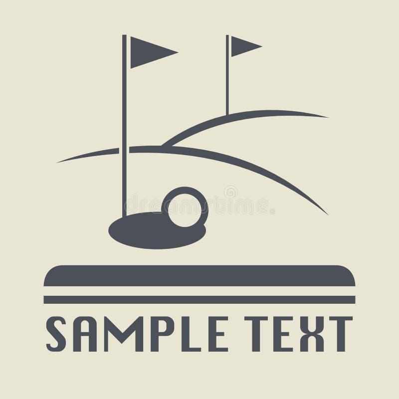 Ícone ou sinal do campo do golfe ilustração stock