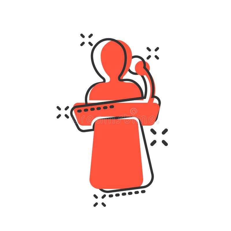 Ícone público do discurso no estilo cômico Ilustração dos desenhos animados do vetor da conferência do pódio no fundo isolado bra ilustração do vetor