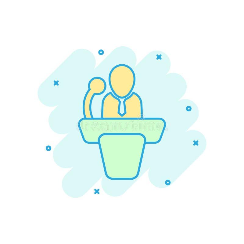 Ícone público do discurso no estilo cômico Ilustração dos desenhos animados do vetor da conferência do pódio no fundo isolado bra ilustração stock