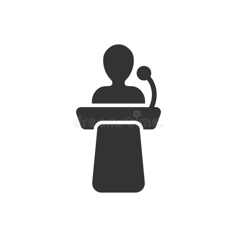 Ícone público do discurso no estilo liso Ilustração do vetor da conferência do pódio no fundo isolado branco Negócio do de ilustração stock