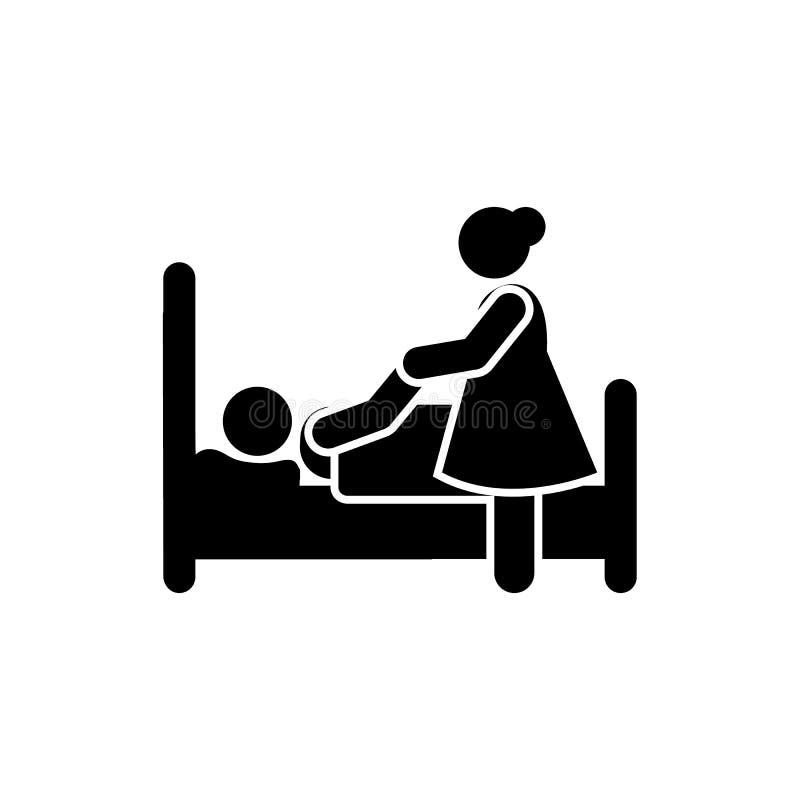 Ícone paciente da tristeza da amargura da mulher Elemento da ilustração da morte do pictograma ilustração royalty free