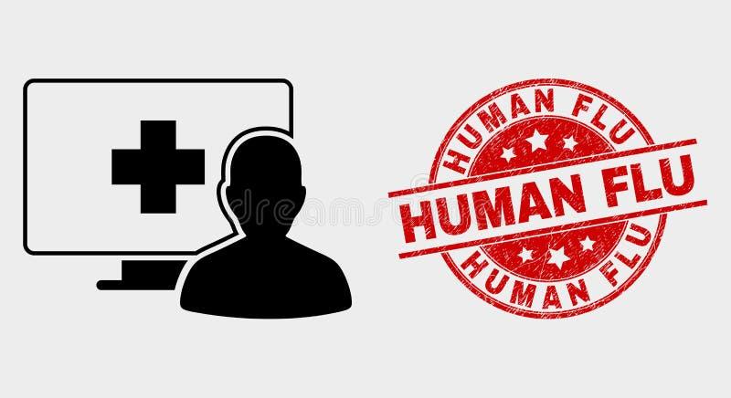 Ícone paciente médico em linha do vetor e para afligir o selo humano da gripe ilustração royalty free