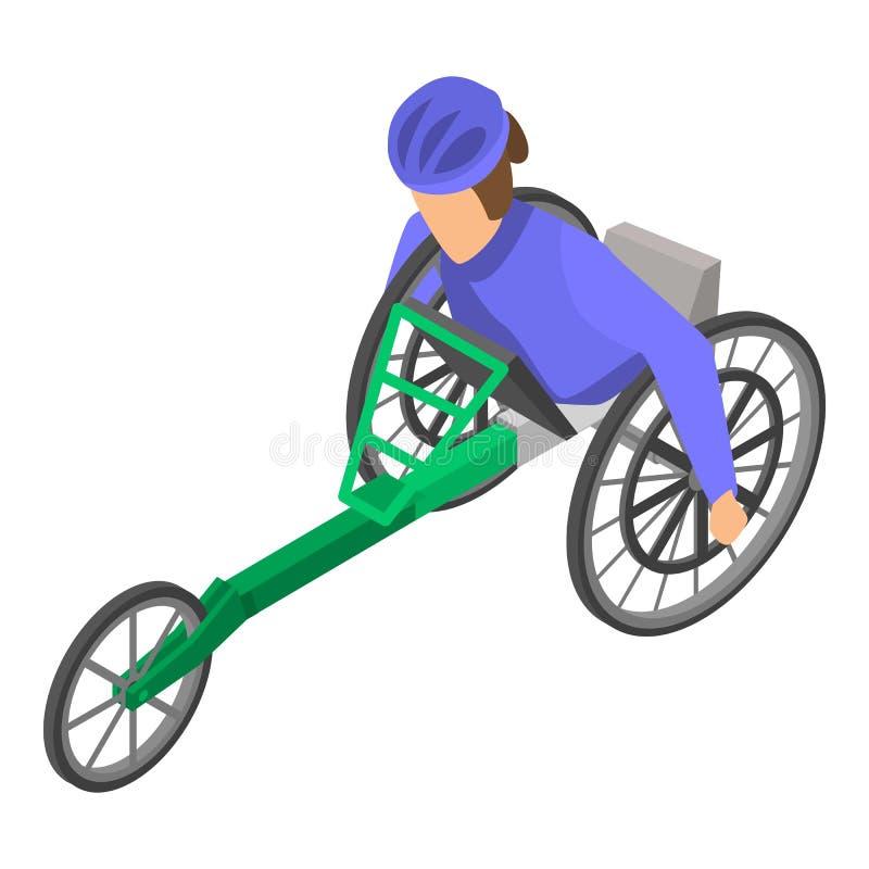 Ícone paralympic inválido da raça, estilo isométrico ilustração stock