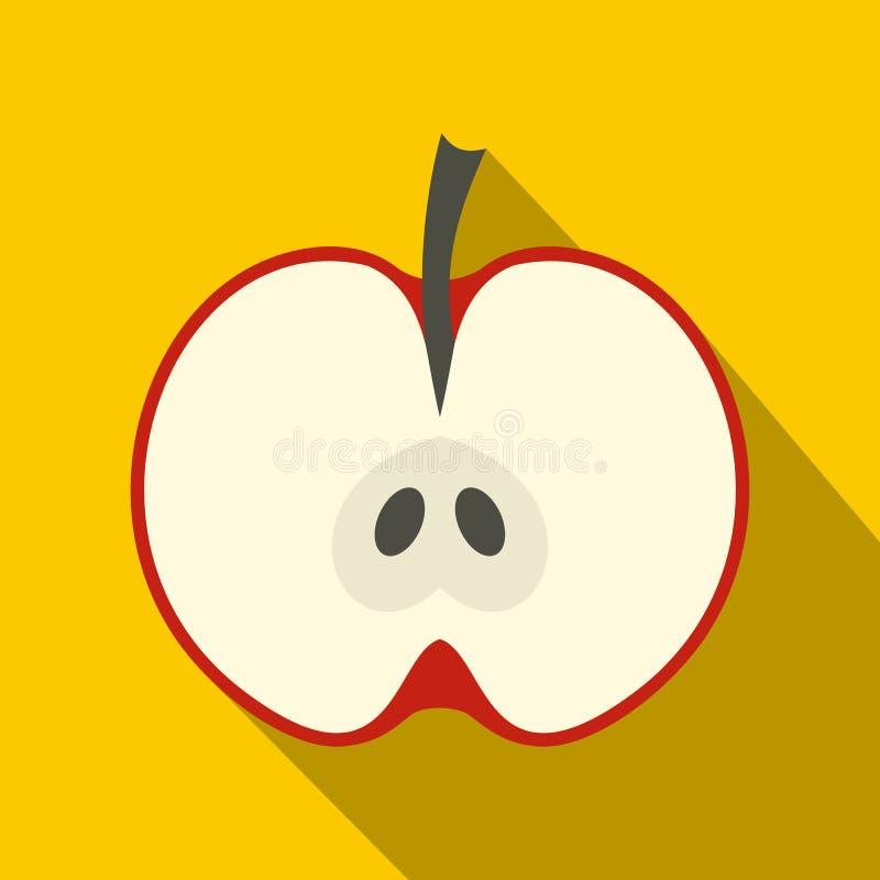 Ícone parcialmente vermelho da maçã, estilo liso ilustração royalty free