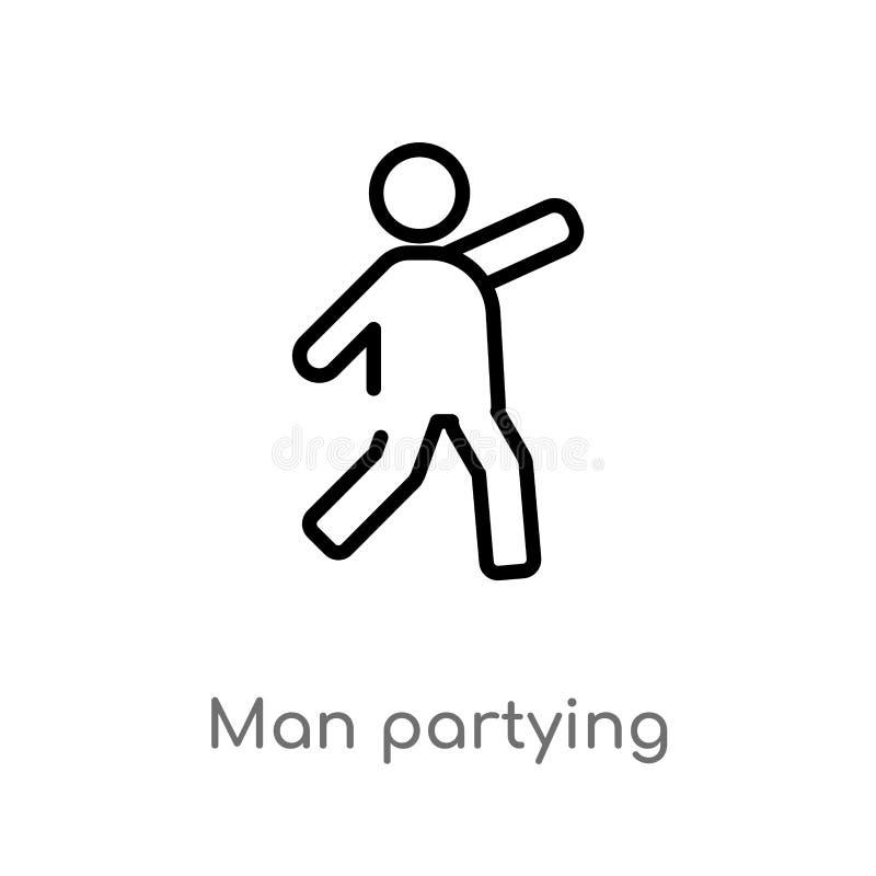ícone partying do vetor do homem do esboço linha simples preta isolada ilustração do elemento do conceito dos povos homem editáve ilustração do vetor