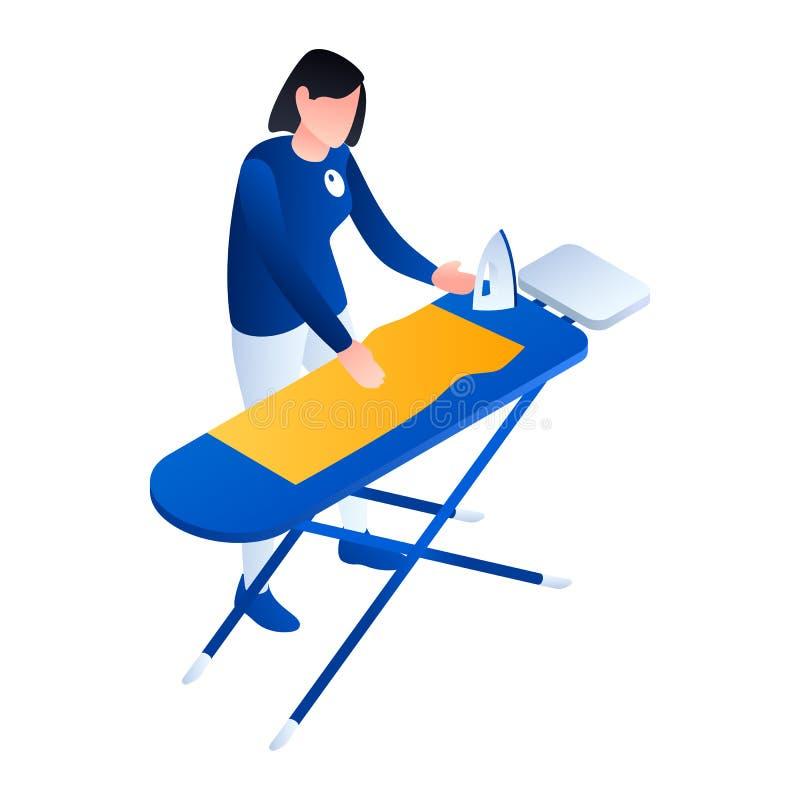 Ícone passando do serviço da lavanderia, estilo isométrico ilustração royalty free
