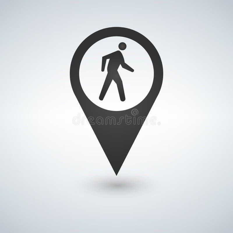 Ícone pedestre comum Homem que anda pelo ponteiro do mapa do pé Para mapas, esquemas, aplicações e infographics ilustração stock