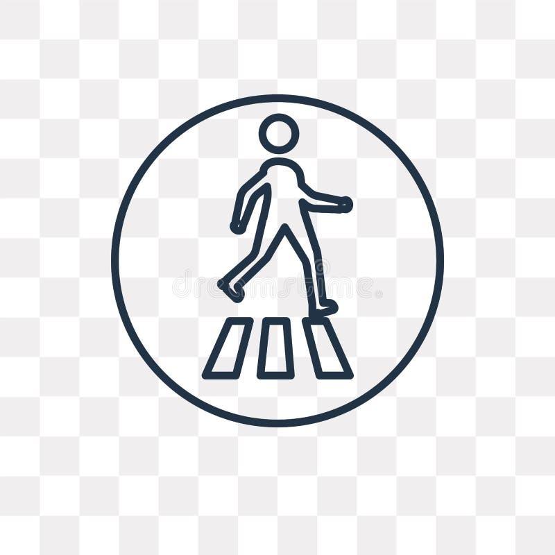 Ícone pedestre do vetor isolado no fundo transparente, linea ilustração royalty free